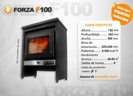 Estufa Forza F100 - Calefacción a leña - Encendido rápido - Ideal espacios reducidos