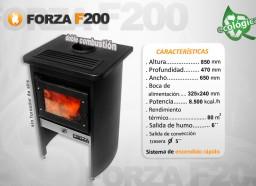 Estufa Forza F200 sin forzador de aire - Calefacción a leña - Encendido rápido