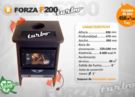 Estufa Forza F200 Turbo con forzador de aire - Calefacción a leña - Encendido rápido