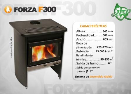 Estufa Forza F300 sin forzador de aire - Calefacción a leña - Encendido rápido