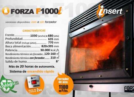 Estufa Forza Insert F1000i con y sin forzador de aire - 30000kcal- Encendido rápido