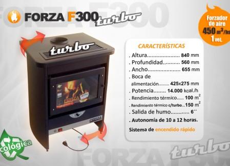 Estufa Forza F300 Turbo con forzador de aire - Calefacción a leña - Encendido rápido