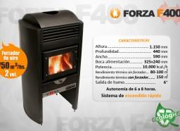 Estufa Forza F400 con forzador de aire - Calefacción a leña - Encendido rápido