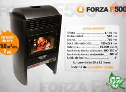 Estufa Forza F500 con forzador de aire - Calefacción a leña - Encendido rápido