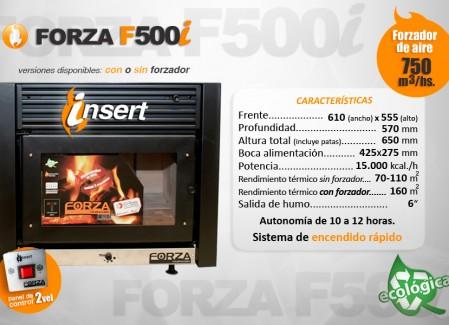 Estufa Forza Insert F500i con y sin forzador de aire - 15000kcal- Encendido rápido